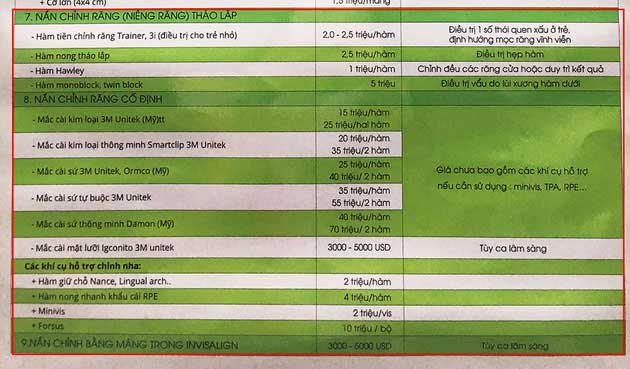 chi phí niềng răng tại bệnh viện tư nhân