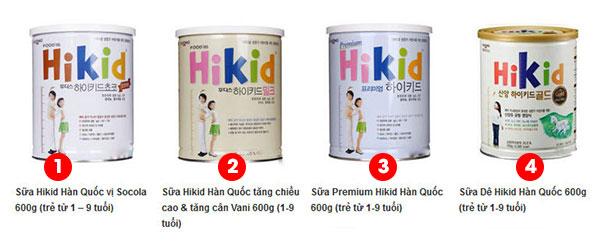 sữa Hikid Hàn Quốc có mấy loại