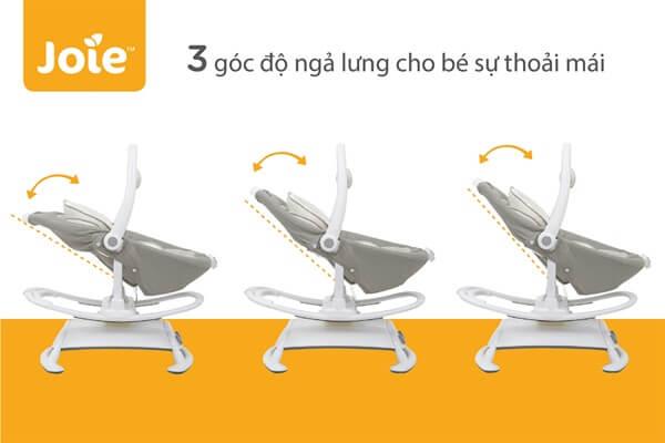 Thiết kế 3 góc độ ngả lưng cho bé sự thoải mái
