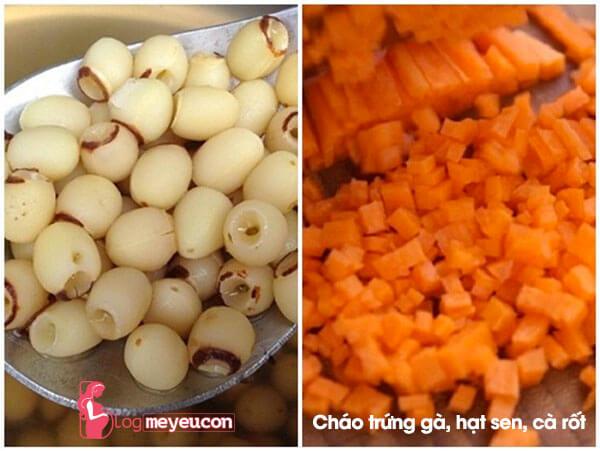 Món cháo trứng gà, hạt sen và cà rốt