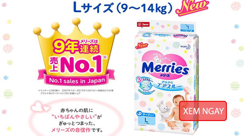 bỉm merries số 1 Nhật Bản