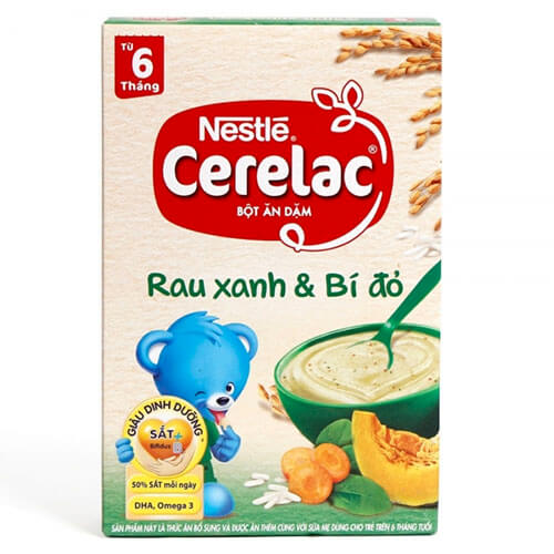 Bột ăn dặm vị ngọt Nestle từ rau xanh và bí đỏ