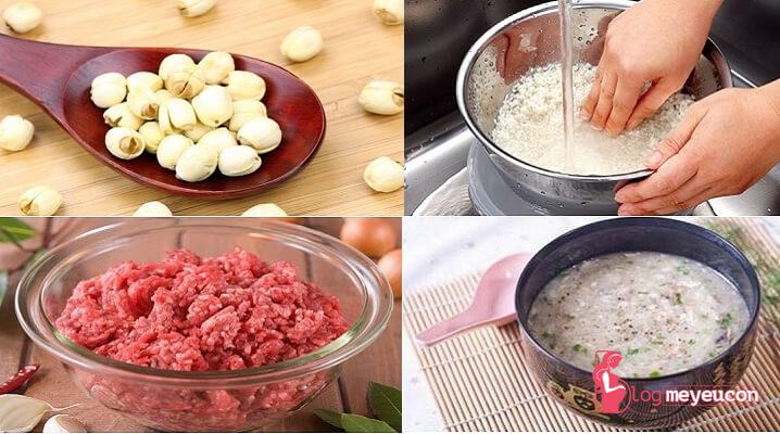 Cháo thịt bò hạt sen