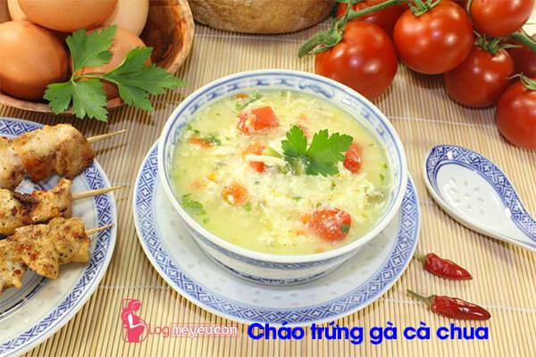 Món cháo trứng gà với cà chua