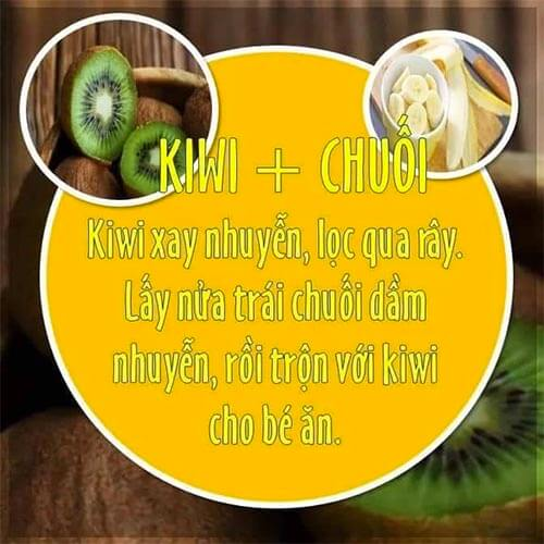 Kiwi kết hợp với chuối là một món ăn dặm rất tốt cho bé