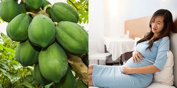 Đu đủ xanh có chứa rất nhiều enzymes và mủ có thể gây co thắt tử cung và gây sảy thai