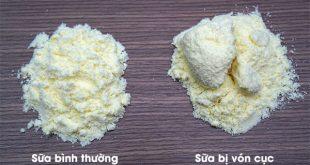 HÌnh ảnh swax Glico bình thường và sữa Glico bị vón cục