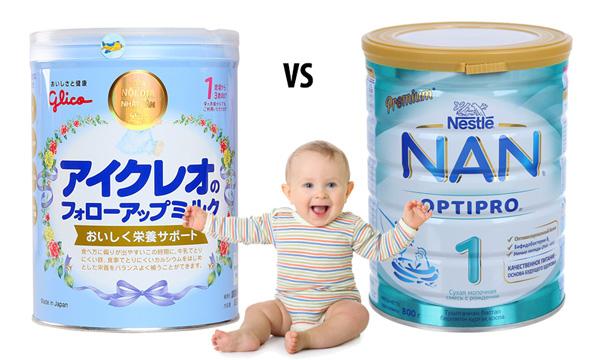 So sánh sữa Nan và sữa Glico