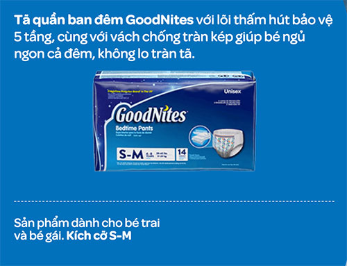 Tã quần ban đêm Goodnites S-M