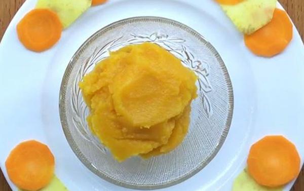 Cà rốt kết hợp với khoai lang then một món ăn dặm tốt cho bé 7 tháng tuổi