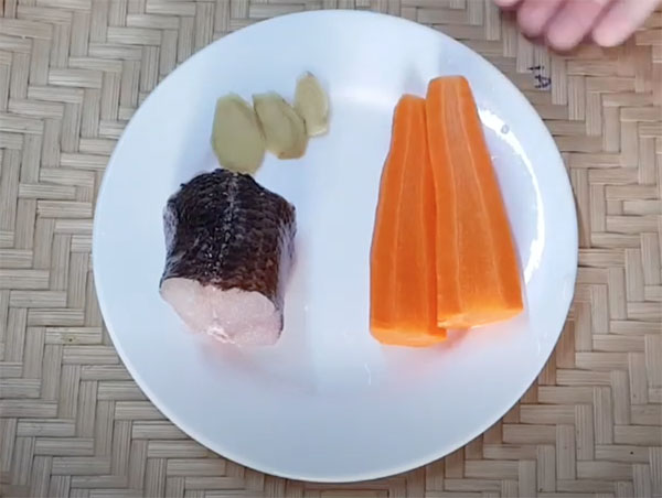 Nguyên liệu nấu cháo cá lóc cà rốt cho bé ăn dặm
