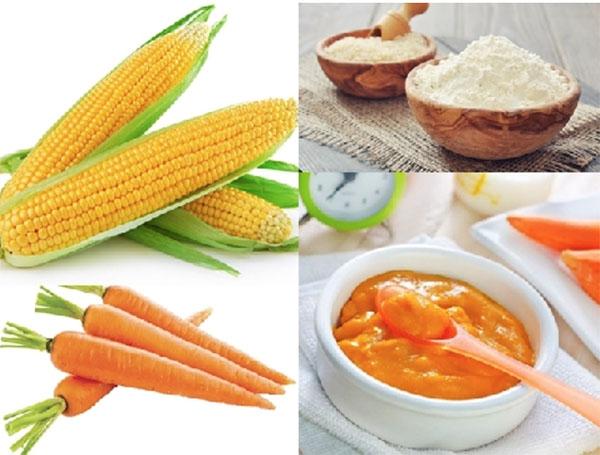 Bột ngô cà rốt cho bé ăn dặm