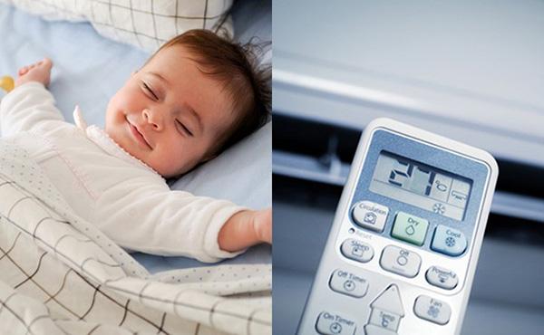 Ba mẹ cần phải đảm bảo nhiệt độ điều hoà phù hợp cho trẻ sơ sinh