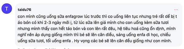 Một số ý kiến về sữa Enfagrow trên Webtretho (3)