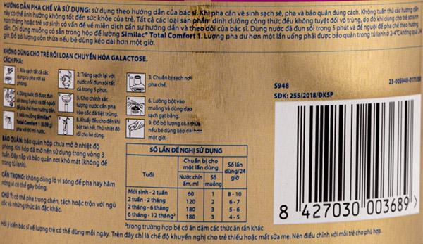 Hướng dẫn cách pha sữa Similac Total Comfort được in trên vỏ lon sản phẩm